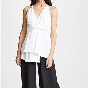 Acler White Crepe Parker Asymmetrical Top